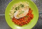 Csicseriborsó ragu csirkemellel és bulgurral - diétás recept
