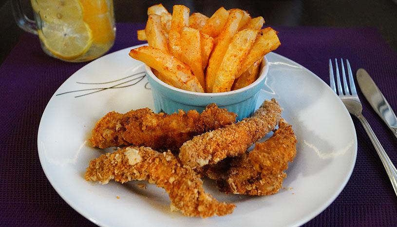 diétás KFC házilag: chicken strips sültkrumplival